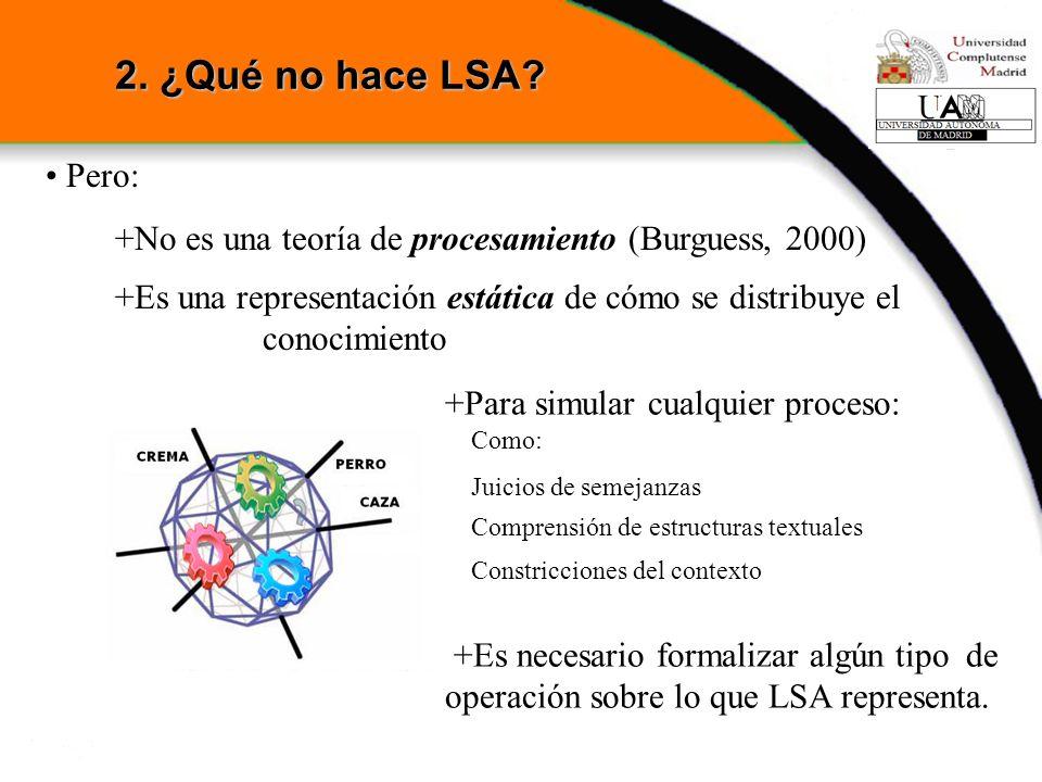 2. ¿Qué no hace LSA Pero: +No es una teoría de procesamiento (Burguess, 2000)