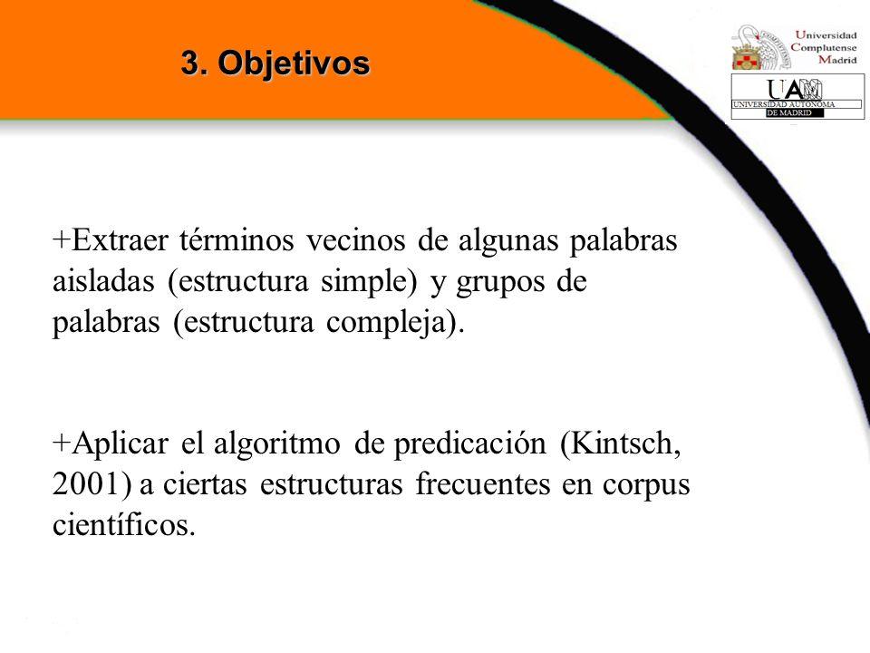 3. Objetivos +Extraer términos vecinos de algunas palabras aisladas (estructura simple) y grupos de palabras (estructura compleja).