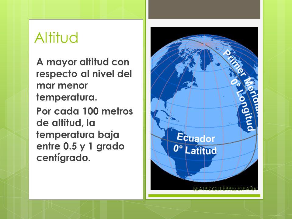 AltitudA mayor altitud con respecto al nivel del mar menor temperatura.