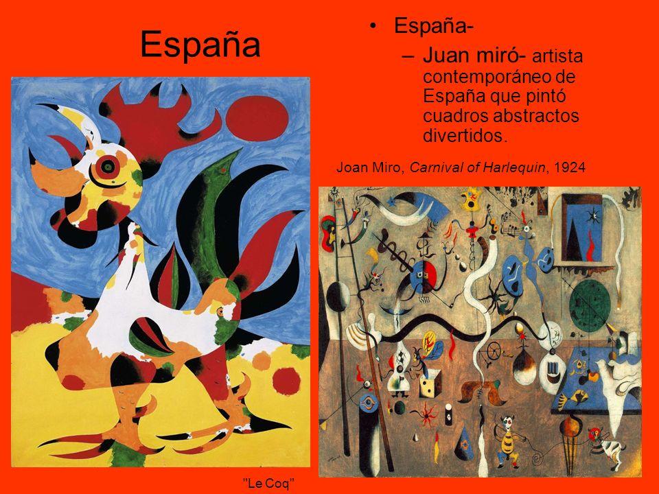 España- Juan miró- artista contemporáneo de España que pintó cuadros abstractos divertidos. España.