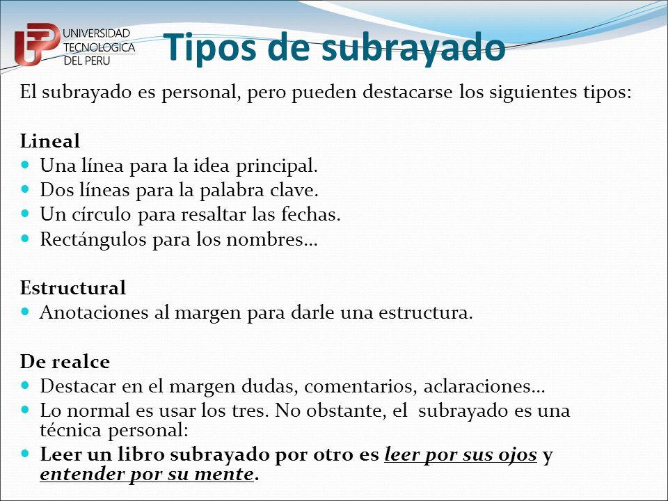 Tipos de subrayadoEl subrayado es personal, pero pueden destacarse los siguientes tipos: Lineal. Una línea para la idea principal.