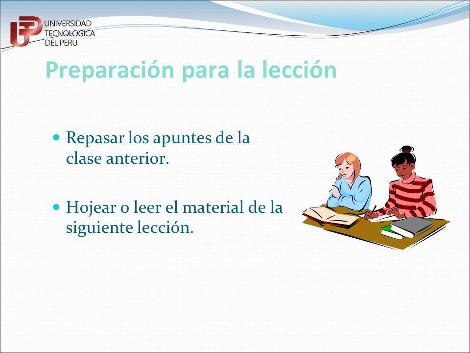 Preparación para la lección