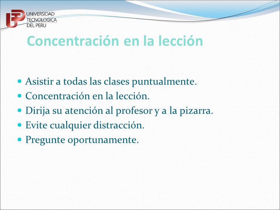 Concentración en la lección