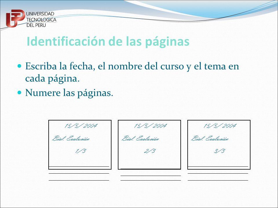 Identificación de las páginas