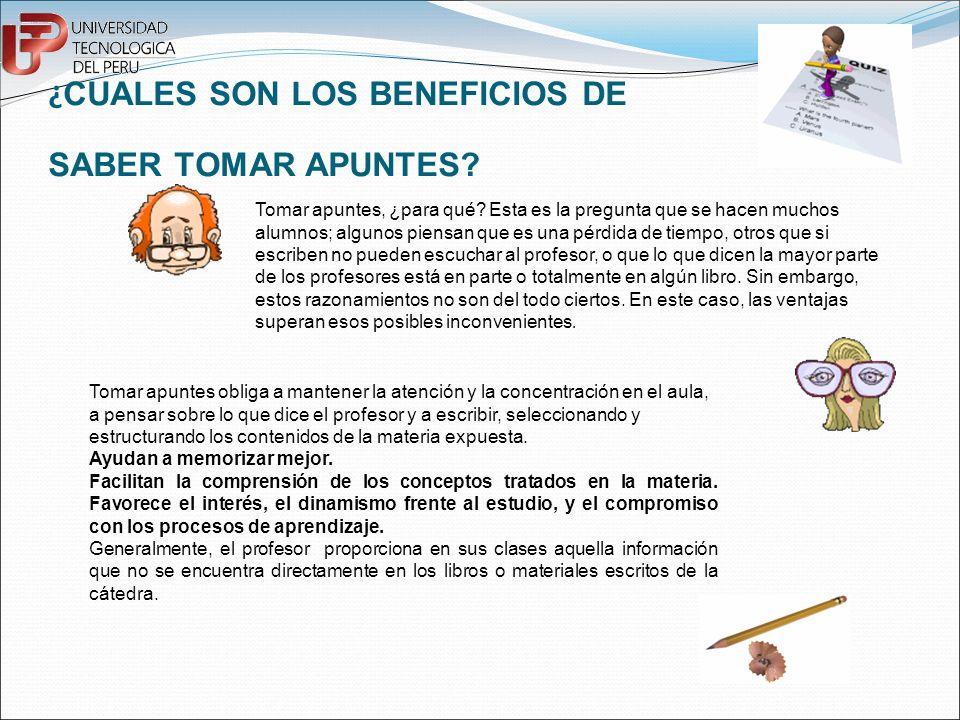 ¿CUALES SON LOS BENEFICIOS DE SABER TOMAR APUNTES
