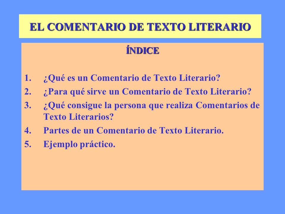EL COMENTARIO DE TEXTO LITERARIO