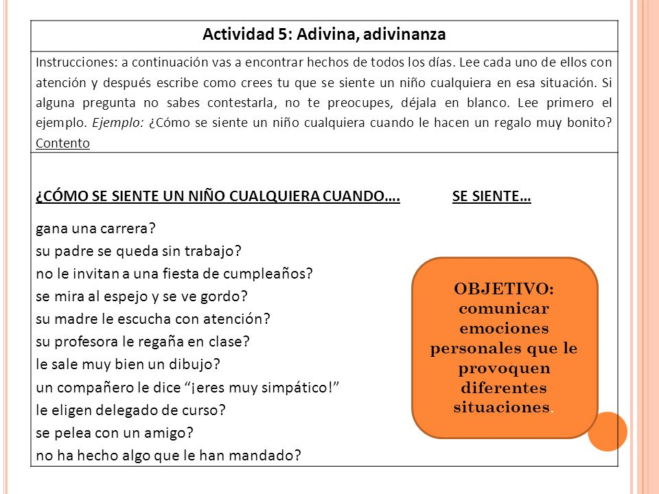 Actividad 5: Adivina, adivinanza