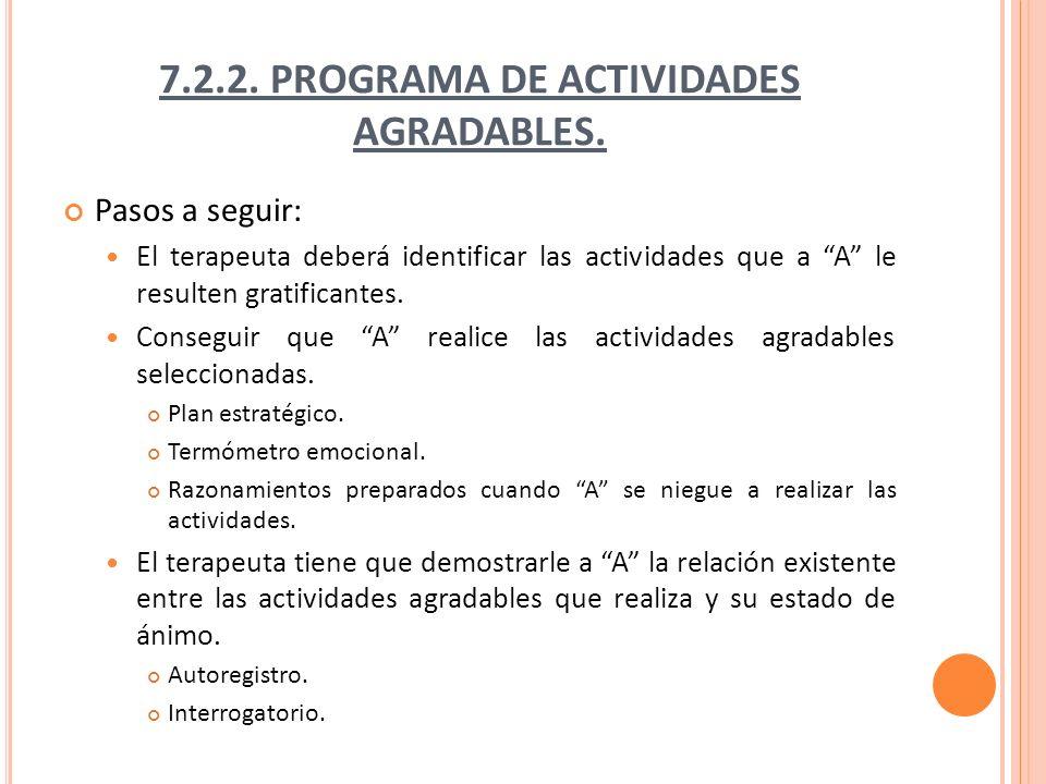 7.2.2. PROGRAMA DE ACTIVIDADES AGRADABLES.