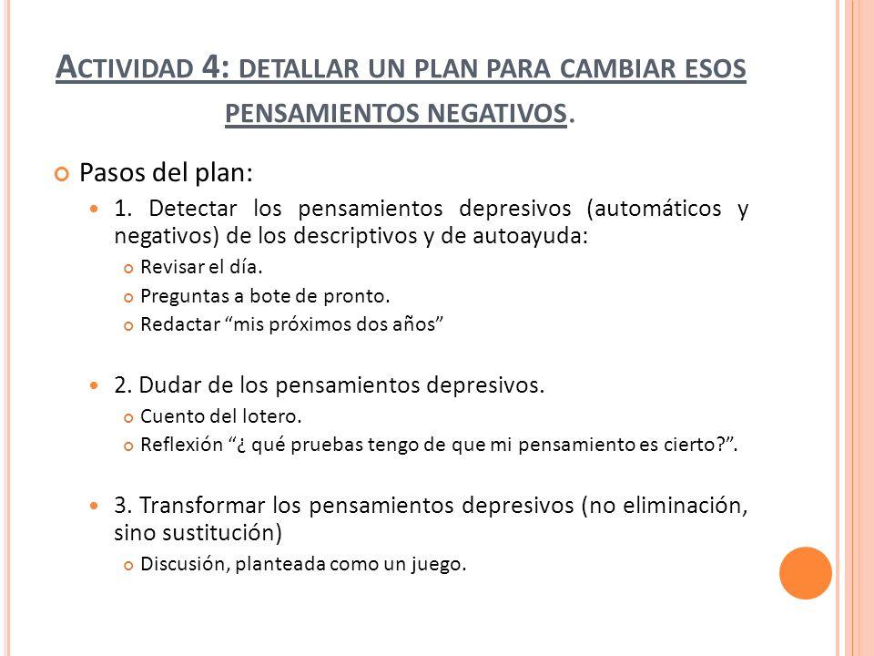 Actividad 4: detallar un plan para cambiar esos pensamientos negativos.