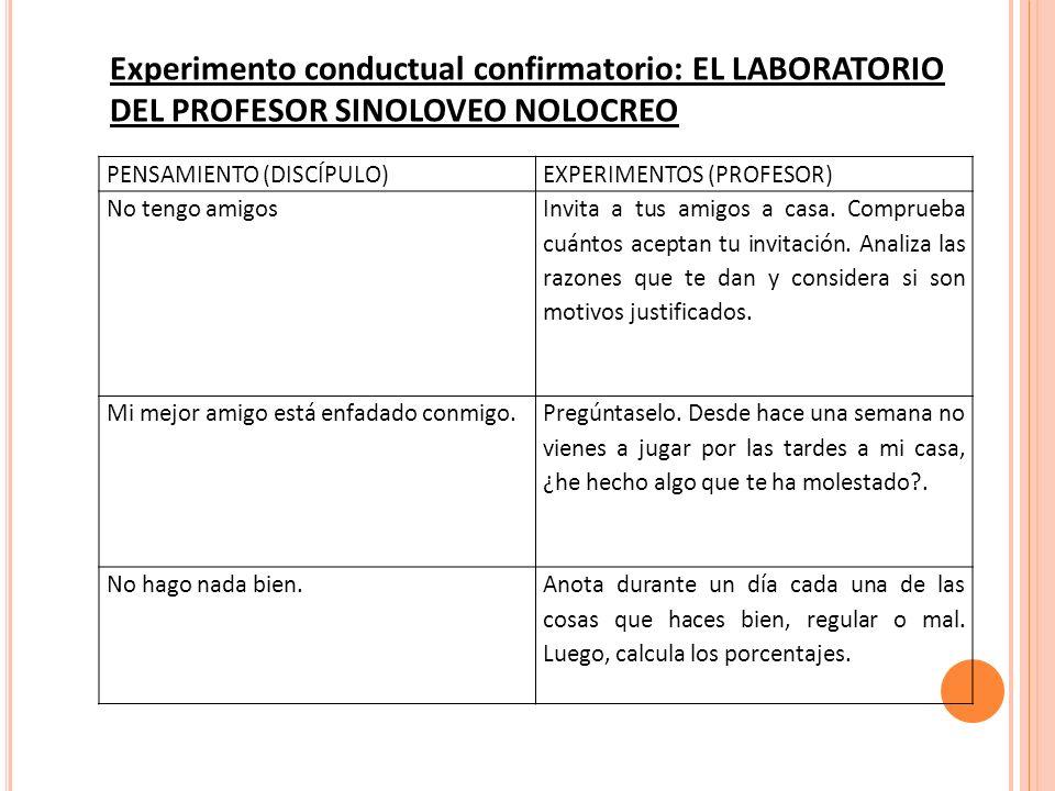 Experimento conductual confirmatorio: EL LABORATORIO DEL PROFESOR SINOLOVEO NOLOCREO