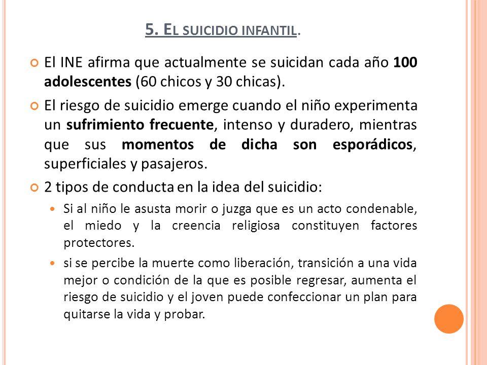 5. El suicidio infantil.El INE afirma que actualmente se suicidan cada año 100 adolescentes (60 chicos y 30 chicas).