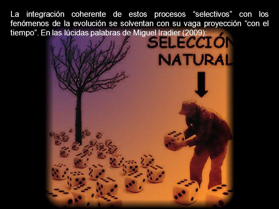 La integración coherente de estos procesos selectivos con los fenómenos de la evolución se solventan con su vaga proyección con el tiempo .