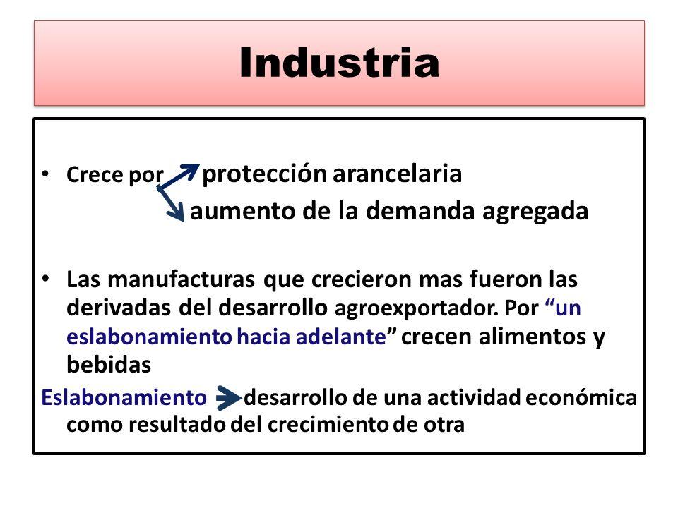 Industria Crece por protección arancelaria. aumento de la demanda agregada.