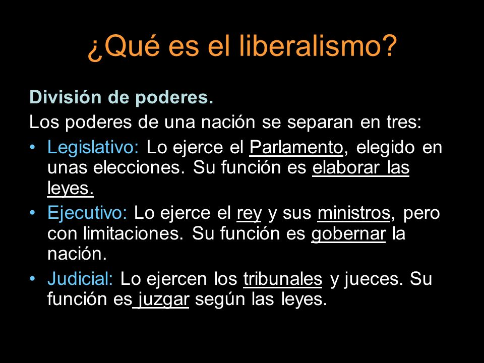 ¿Qué es el liberalismo División de poderes.