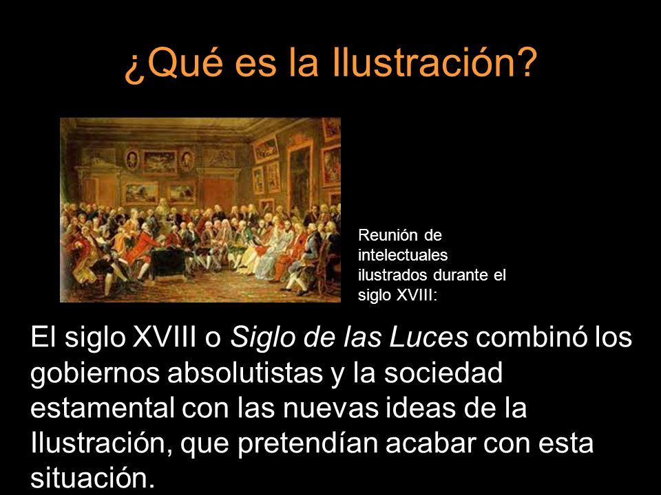 ¿Qué es la Ilustración Reunión de intelectuales ilustrados durante el siglo XVIII: