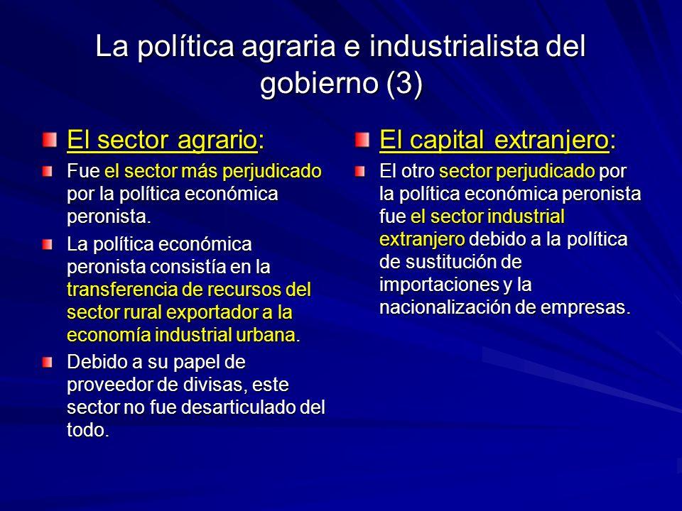 La política agraria e industrialista del gobierno (3)