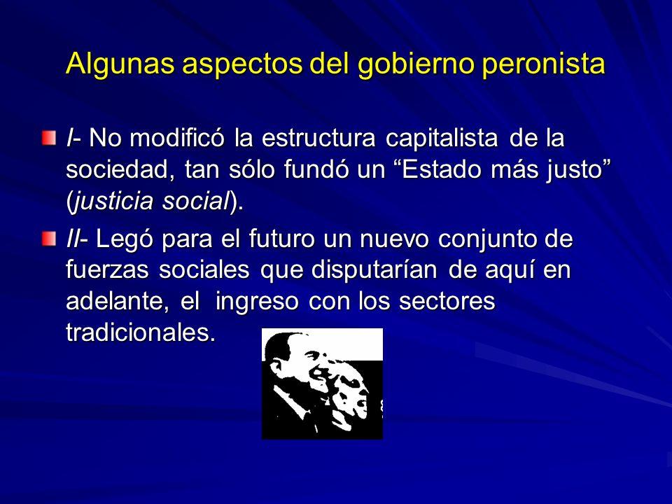 Algunas aspectos del gobierno peronista