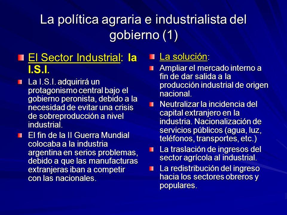 La política agraria e industrialista del gobierno (1)