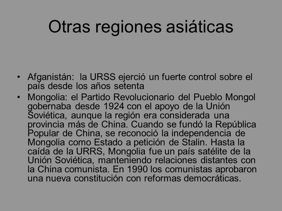 Otras regiones asiáticas