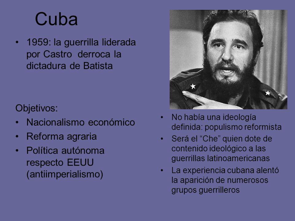 Cuba1959: la guerrilla liderada por Castro derroca la dictadura de Batista. Objetivos: Nacionalismo económico.
