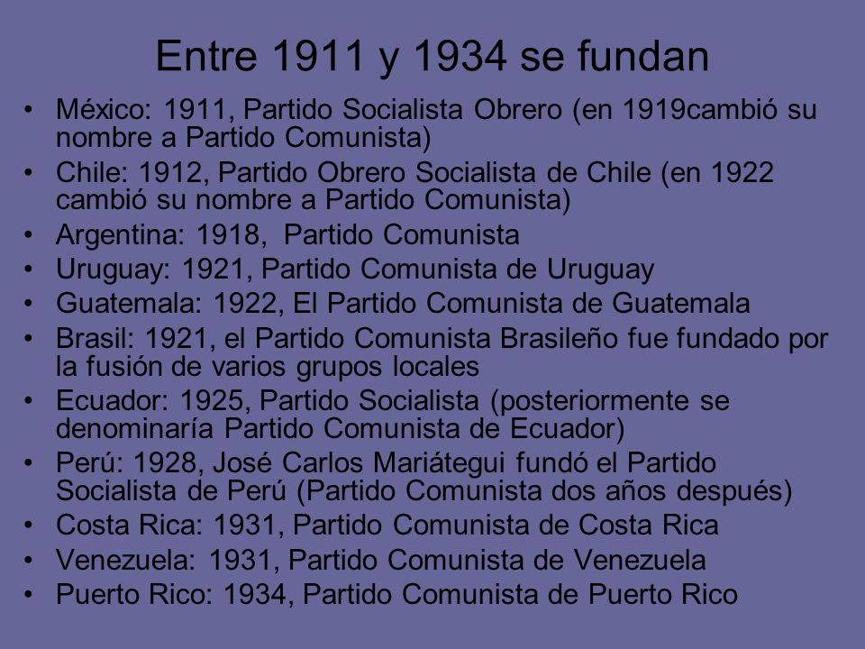 Entre 1911 y 1934 se fundan México: 1911, Partido Socialista Obrero (en 1919cambió su nombre a Partido Comunista)