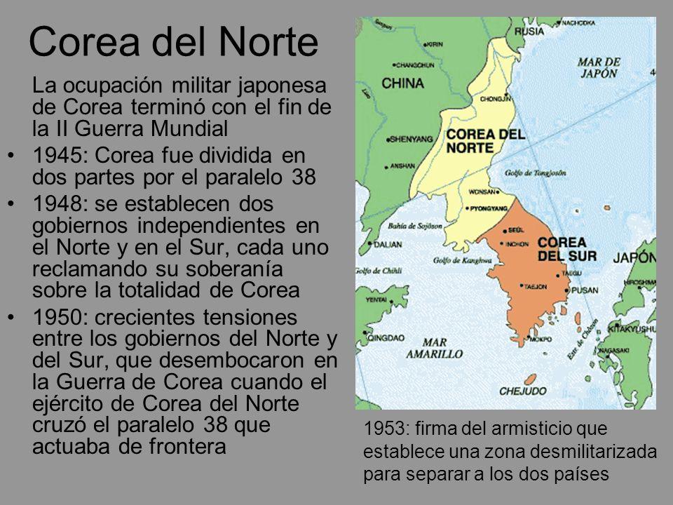Corea del Norte La ocupación militar japonesa de Corea terminó con el fin de la II Guerra Mundial.