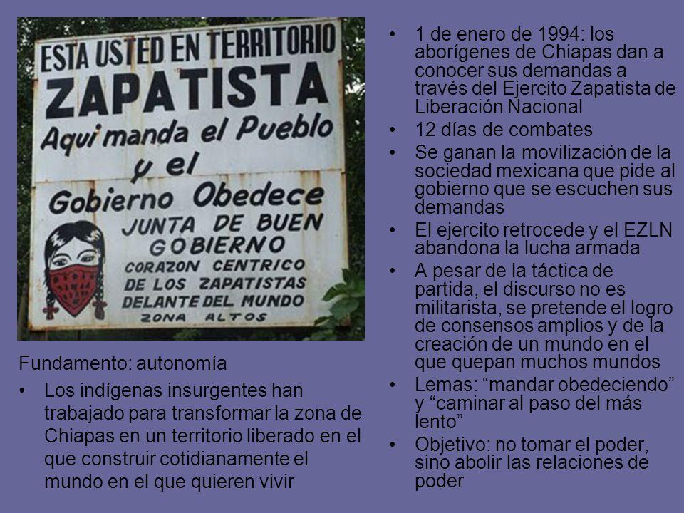 1 de enero de 1994: los aborígenes de Chiapas dan a conocer sus demandas a través del Ejercito Zapatista de Liberación Nacional