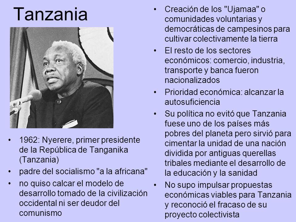 TanzaniaCreación de los Ujamaa o comunidades voluntarias y democráticas de campesinos para cultivar colectivamente la tierra.