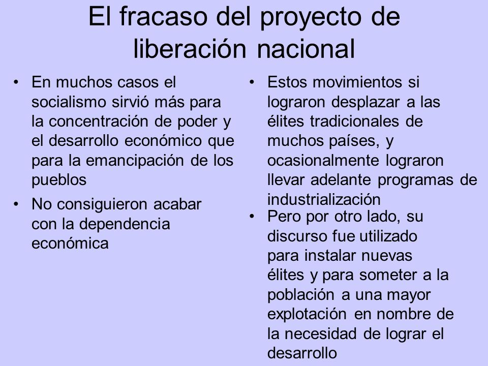 El fracaso del proyecto de liberación nacional