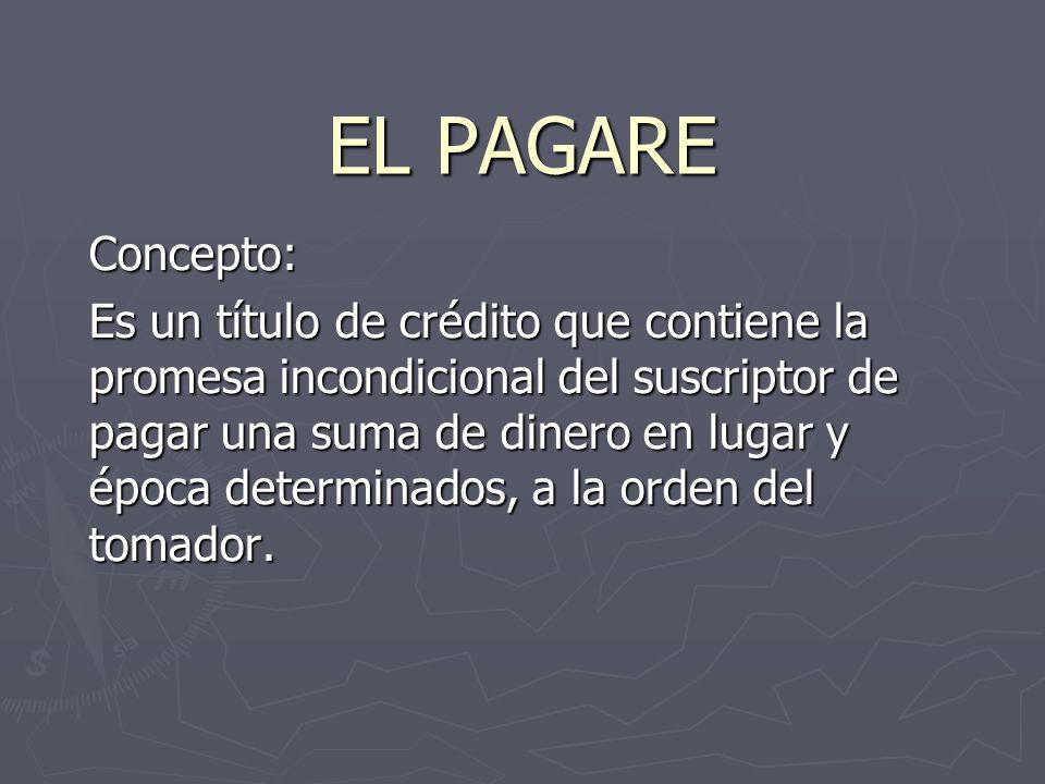 EL PAGARE Concepto: