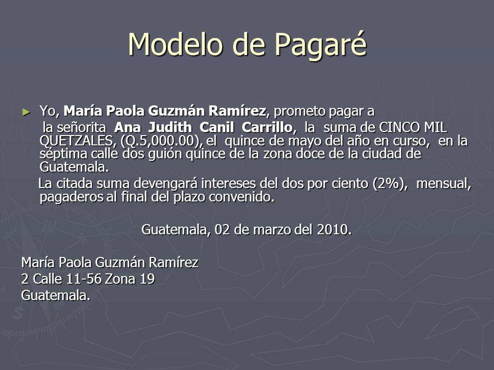 Modelo de Pagaré Yo, María Paola Guzmán Ramírez, prometo pagar a