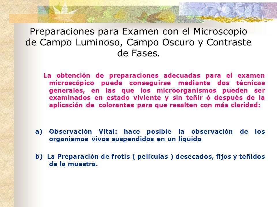 Preparaciones para Examen con el Microscopio de Campo Luminoso, Campo Oscuro y Contraste de Fases.