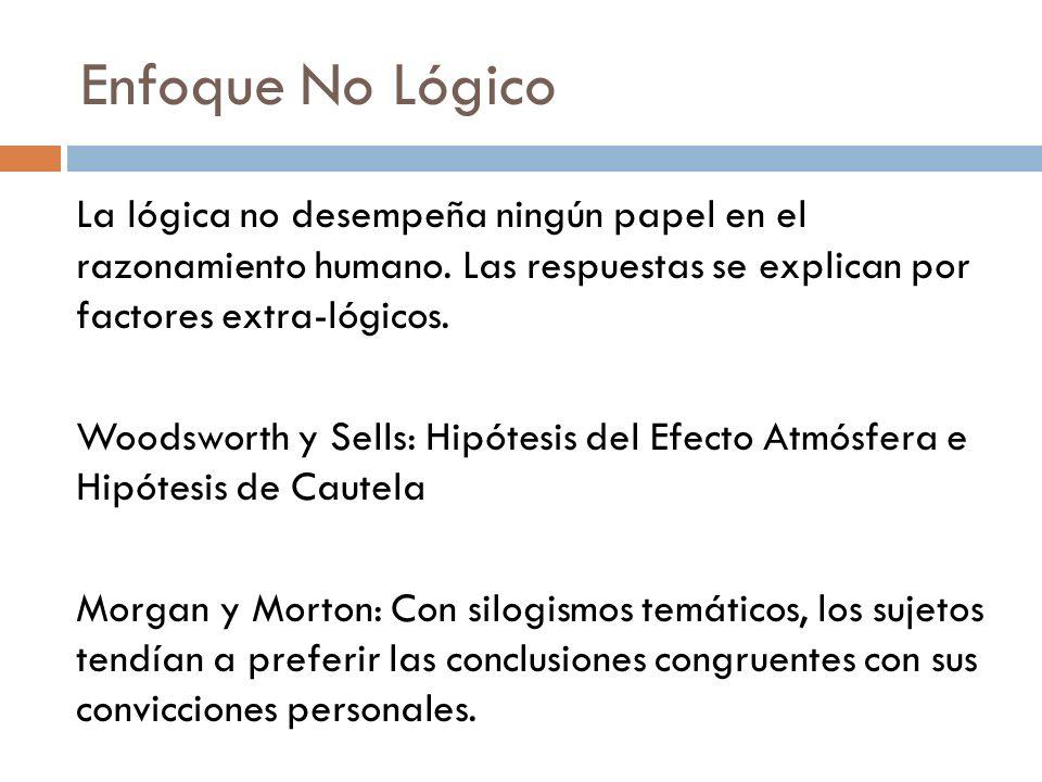 Enfoque No Lógico La lógica no desempeña ningún papel en el razonamiento humano. Las respuestas se explican por factores extra-lógicos.