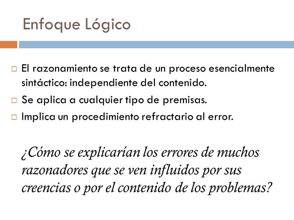 Enfoque Lógico El razonamiento se trata de un proceso esencialmente sintáctico: independiente del contenido.