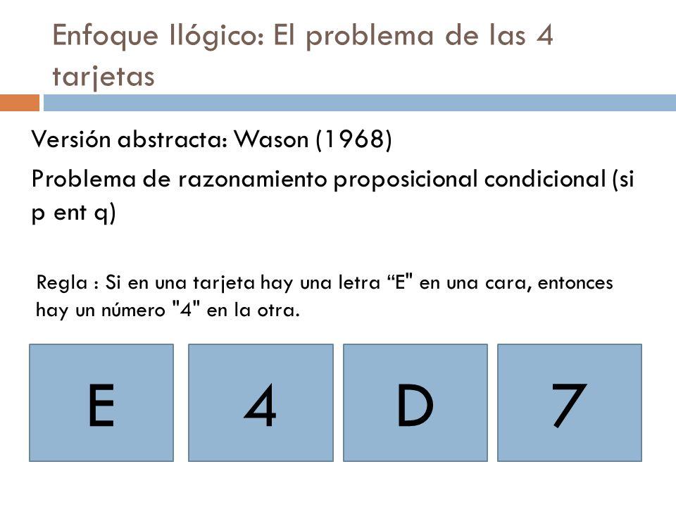 Enfoque Ilógico: El problema de las 4 tarjetas