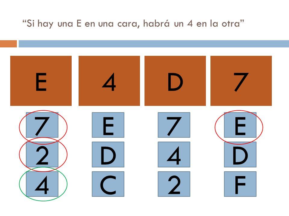 Si hay una E en una cara, habrá un 4 en la otra