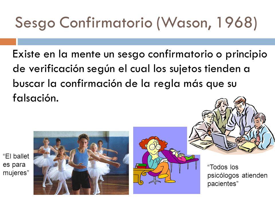 Sesgo Confirmatorio (Wason, 1968)