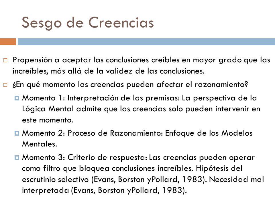 Sesgo de Creencias Propensión a aceptar las conclusiones creíbles en mayor grado que las increíbles, más allá de la validez de las conclusiones.