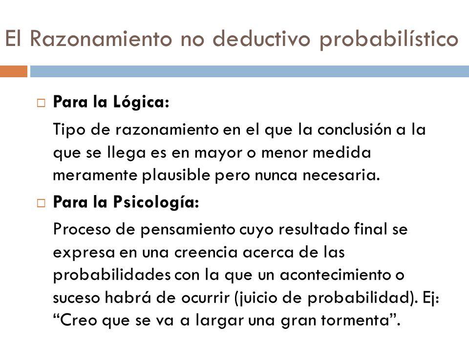 El Razonamiento no deductivo probabilístico