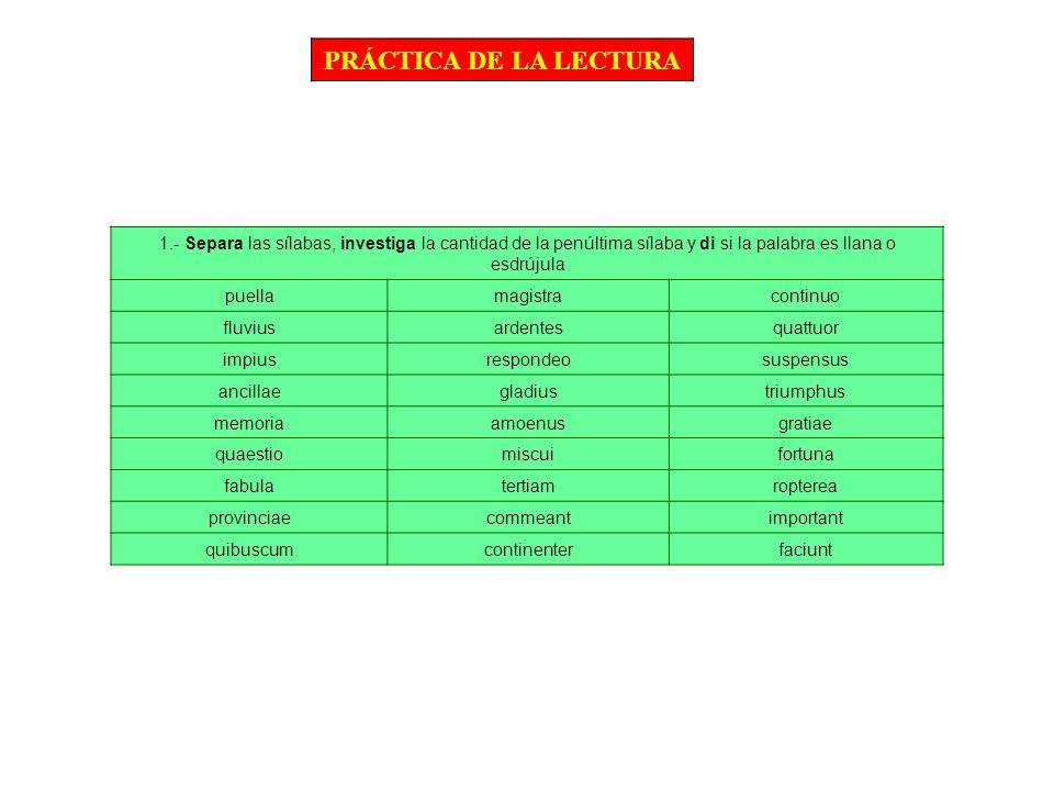 PRÁCTICA DE LA LECTURA 1.- Separa las sílabas, investiga la cantidad de la penúltima sílaba y di si la palabra es llana o esdrújula.
