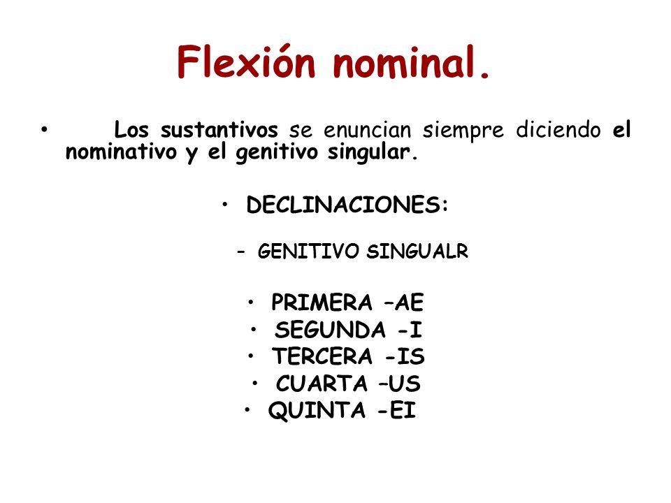 Flexión nominal. Los sustantivos se enuncian siempre diciendo el nominativo y el genitivo singular.