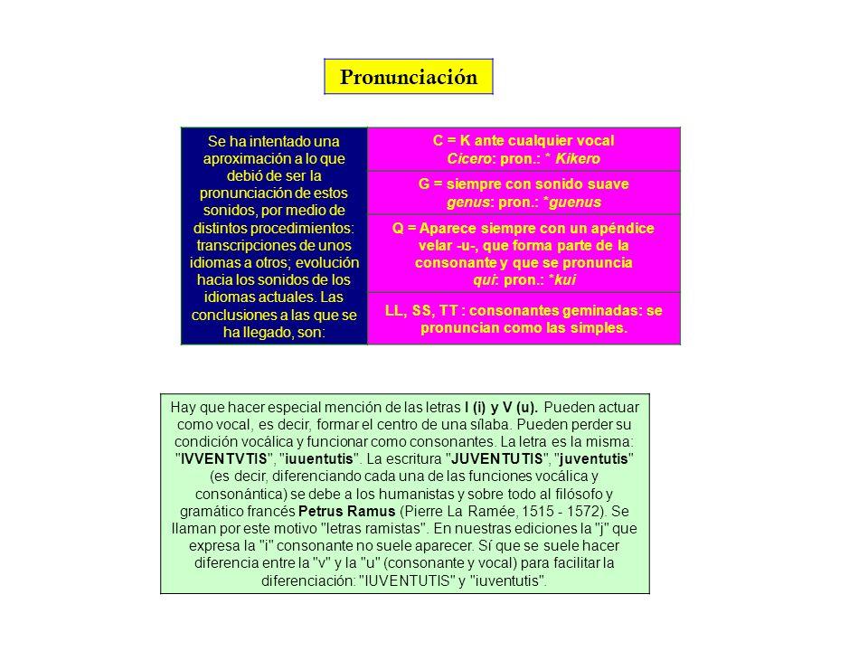 LL, SS, TT : consonantes geminadas: se pronuncian como las simples.