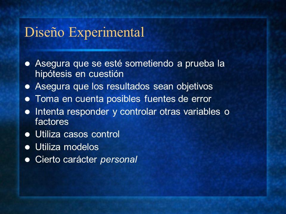 Diseño Experimental Asegura que se esté sometiendo a prueba la hipótesis en cuestión. Asegura que los resultados sean objetivos.