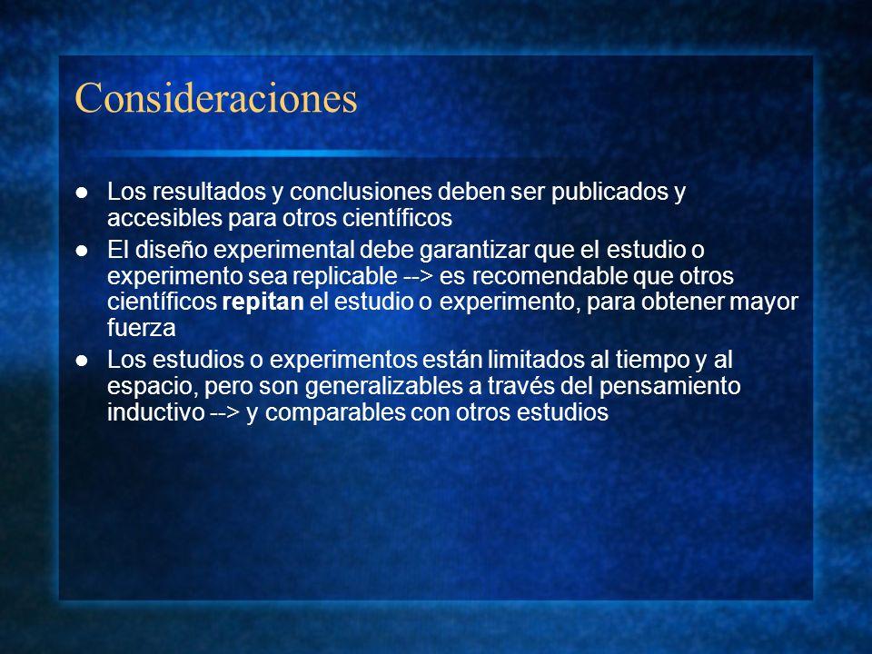 Consideraciones Los resultados y conclusiones deben ser publicados y accesibles para otros científicos.