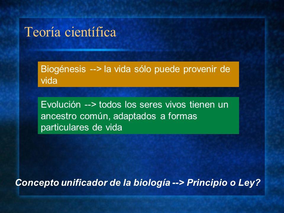 Teoría científicaBiogénesis --> la vida sólo puede provenir de vida.