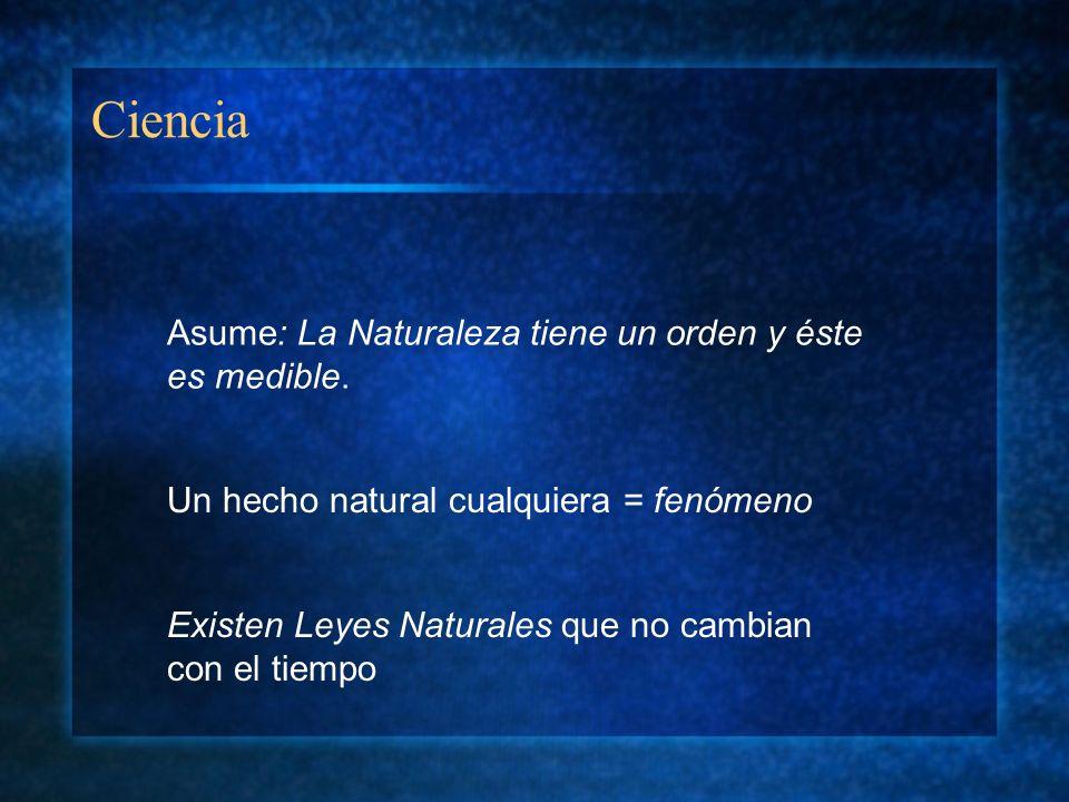 Ciencia Asume: La Naturaleza tiene un orden y éste es medible.