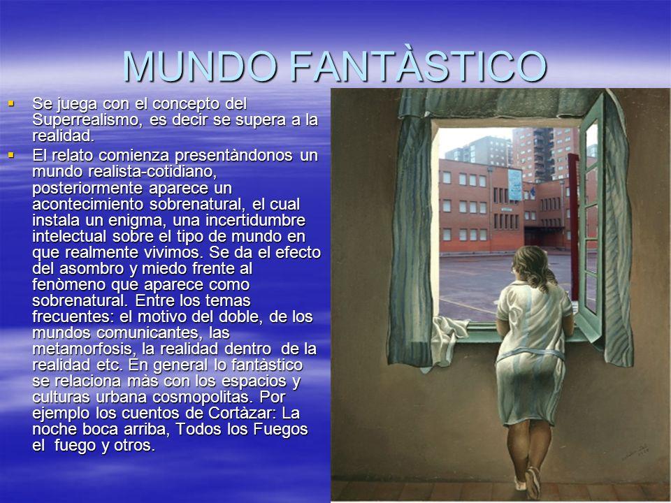 MUNDO FANTÀSTICO Se juega con el concepto del Superrealismo, es decir se supera a la realidad.