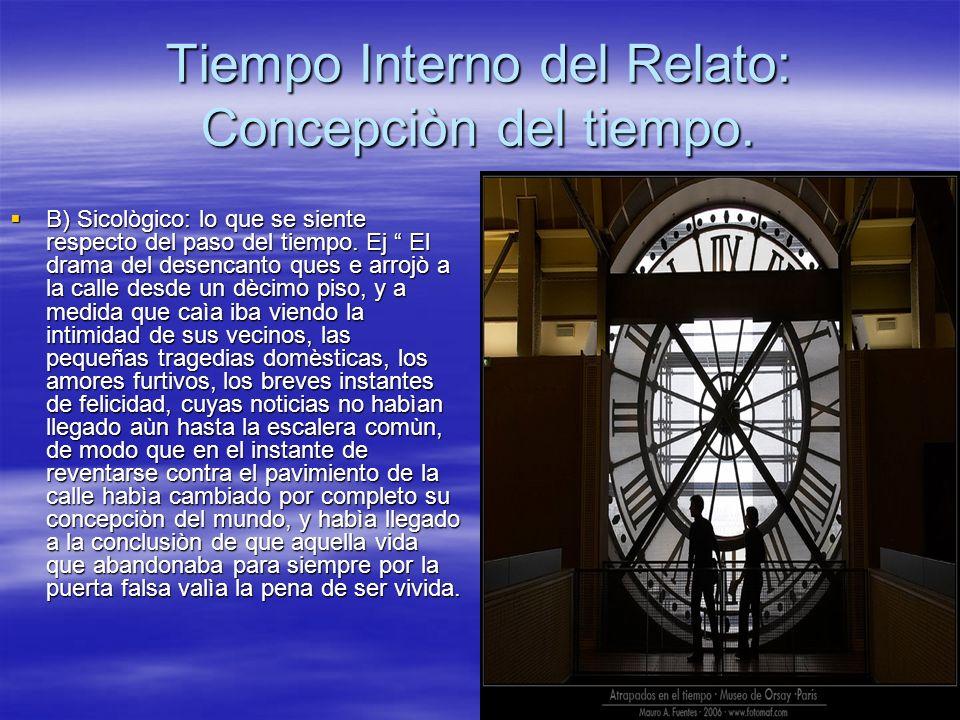 Tiempo Interno del Relato: Concepciòn del tiempo.