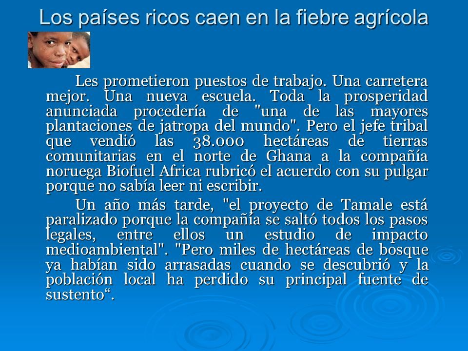 Los países ricos caen en la fiebre agrícola