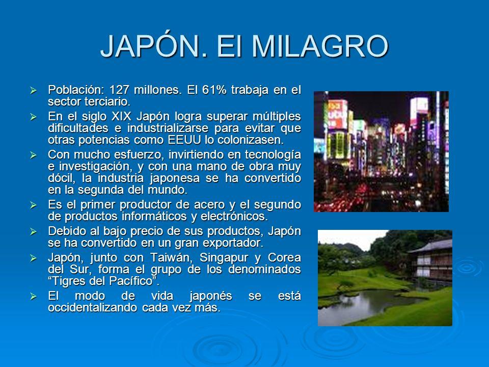 JAPÓN. El MILAGRO Población: 127 millones. El 61% trabaja en el sector terciario.